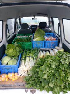 軽ワゴン車での野菜販売