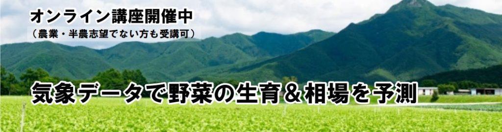 気象データで野菜の生育・相場を予測・・・オンライン講座開催中(農業・半農志望でない方も受講可)